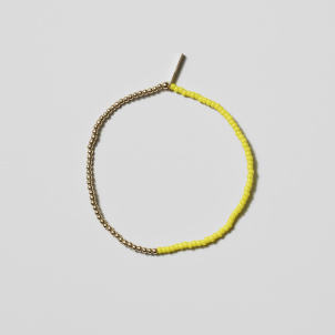 Neon Yellow and Gold Bead Bracelet
