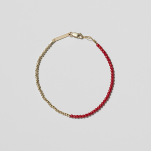 Red Coral and Gold Bead Bracelet