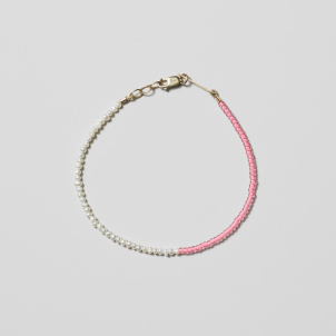 Neon Pink and Pearl Bead Bracelet