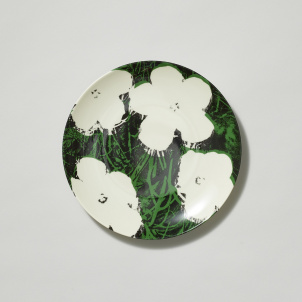 Andy Warhol White Flowers Porcelain Dessert Plate